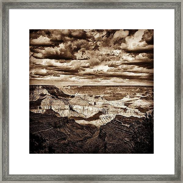 Grand Canyon Black And White Negative Framed Print