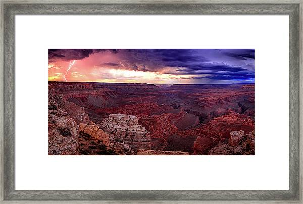Grand Canyon Lightning Panorama Framed Print by Johnny Adolphson