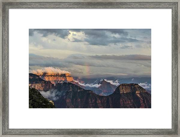 Grand Canyon Monsoon Rainbow Framed Print