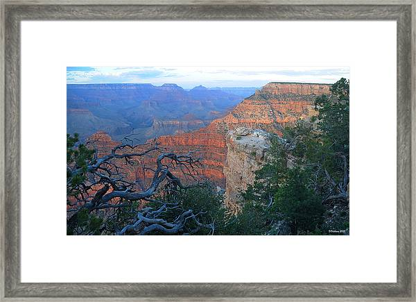 Grand Canyon South Rim - Red Hues At Sunset Framed Print