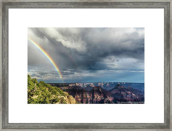 Grand Canyon Stormy Double Rainbow Framed Print