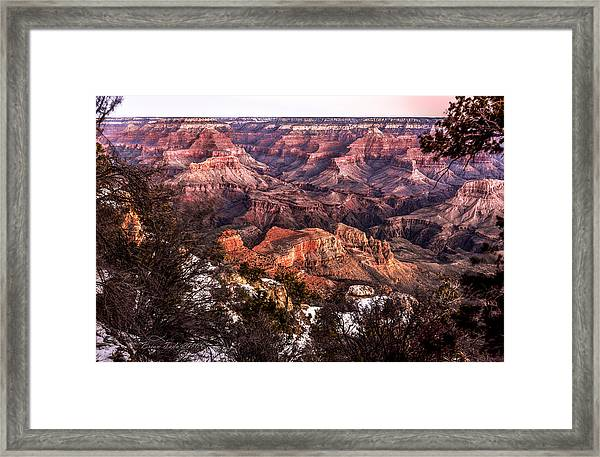 Grand Canyon Winter Sunrise Landscape At Yaki Point Framed Print