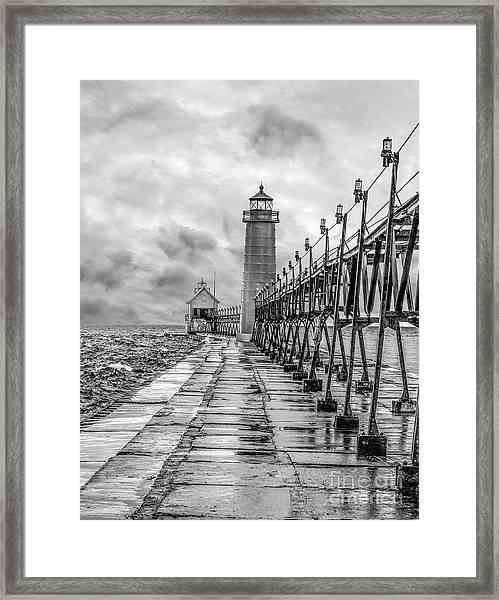 Grand Haven Lighthouse - Monochome Framed Print