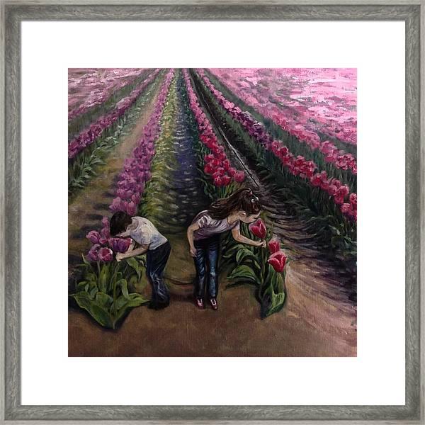 Grandchildren At Roosengaarde  Framed Print