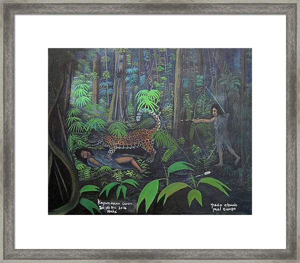 Grandfather Has A Bad Time Framed Print by Kayum Ma'ax Garcia