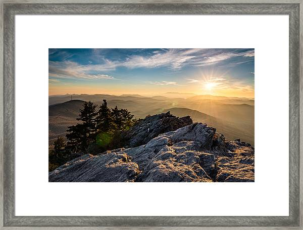 Grandfather Mountain Sunset Blue Ridge Parkway Western Nc Framed Print