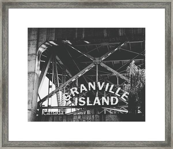 Granville Island Bridge Black And White- By Linda Woods Framed Print