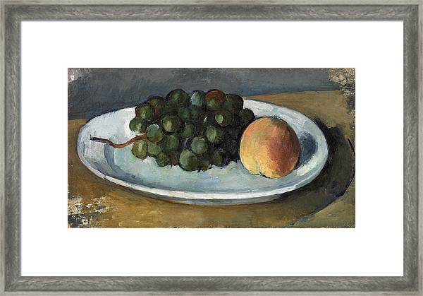 Grapes And Peach On A Plate Framed Print