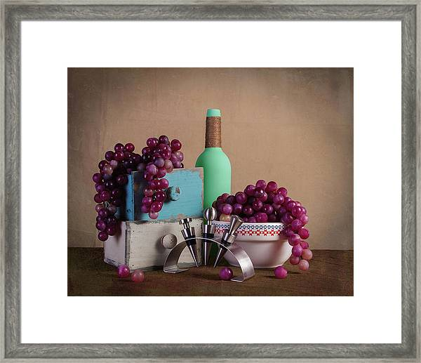 Grapes With Wine Stoppers Framed Print