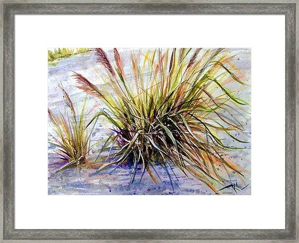 Framed Print featuring the painting Grass 1 by Katerina Kovatcheva