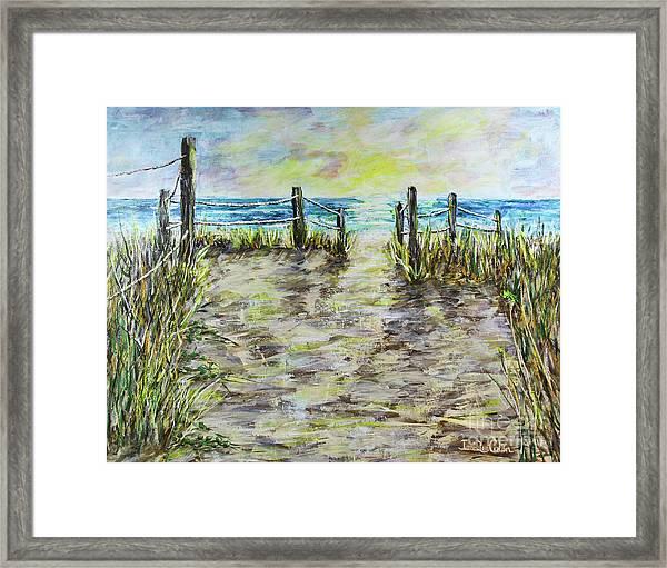 Grassy Beach Post Morning 2 Framed Print