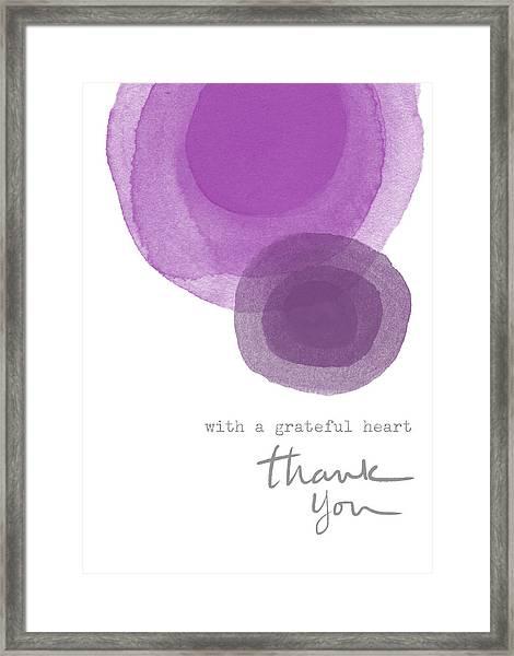 Grateful Heart Thank You- Art By Linda Woods Framed Print