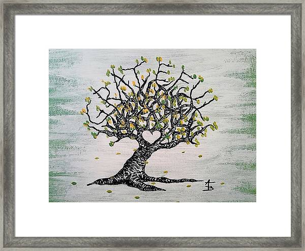 Framed Print featuring the drawing Grateful Love Tree by Aaron Bombalicki