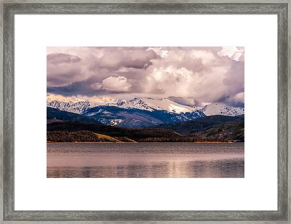 Gray Skies Over Lake Granby Framed Print