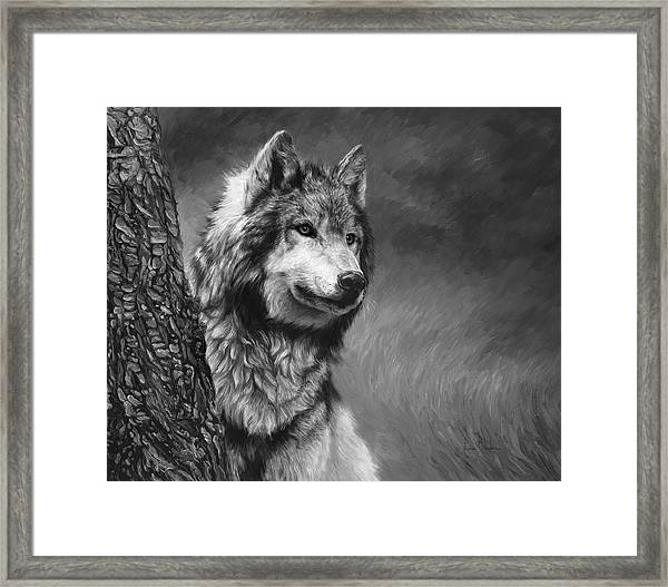 Gray Wolf - Black And White Framed Print