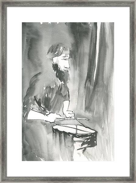 Grayscale Study Of Matthew Smith Framed Print