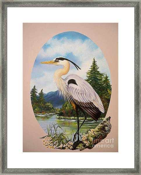 Flying Lamb Productions                 Great Blue Heron Framed Print