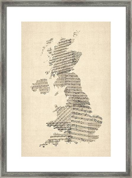 Great Britain Uk Old Sheet Music Map Framed Print