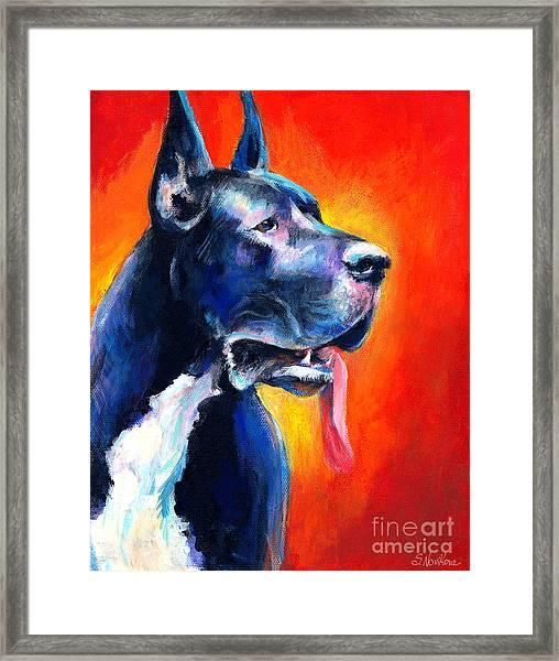 Great Dane Dog Portrait Framed Print