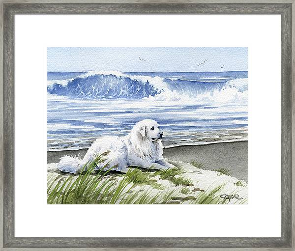 Great Pyrenees At The Beach Framed Print