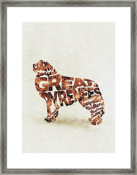 Great Pyrenees Watercolor Painting / Typographic Art Framed Print