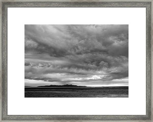 Great Salt Lake Clouds At Sunset - Black And White Framed Print