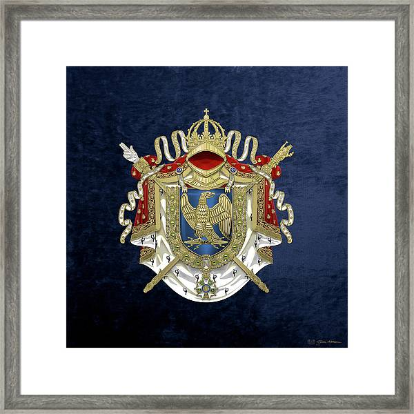 Greater Coat Of Arms Of The First French Empire Over Blue Velvet Framed Print