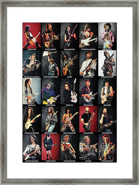 Greatest Guitarists Of All Time Framed Print