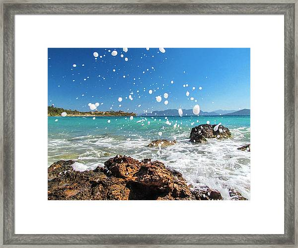 Greek Surf Spray Framed Print