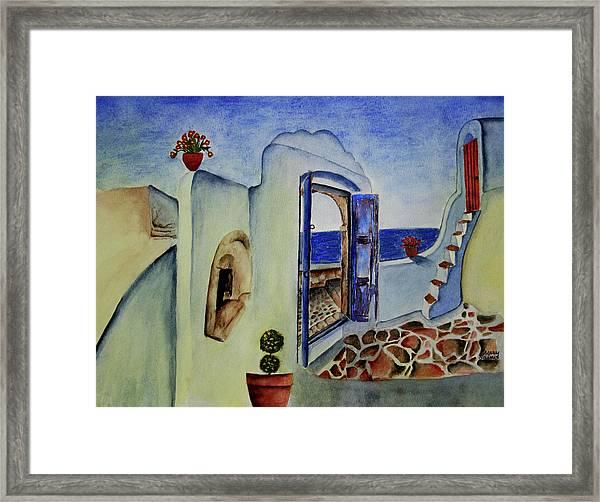Greek Villa II Framed Print by Mary Gaines