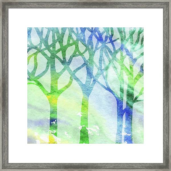 Green And Blue Forest Silhouette Framed Print
