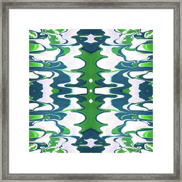 Green And Blue Swirl- Art By Linda Woods Framed Print
