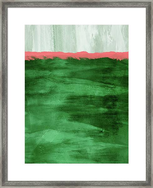 Green And Coral Landscape- Abstract Art By Linda Woods Framed Print