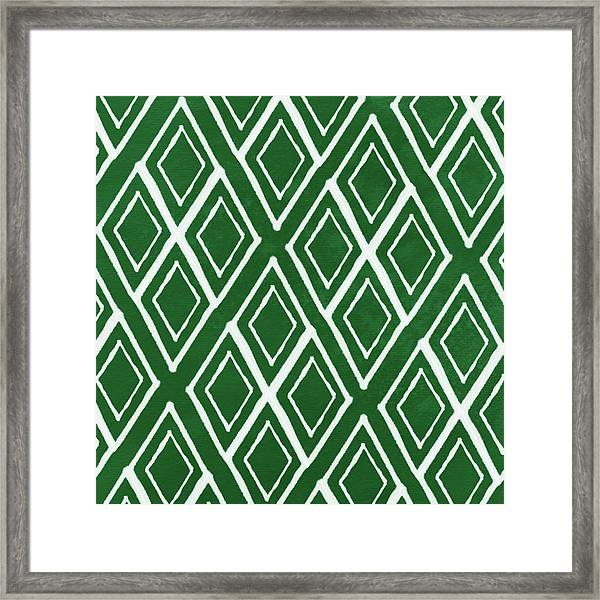 Green And White Diamonds- Art By Linda Woods Framed Print