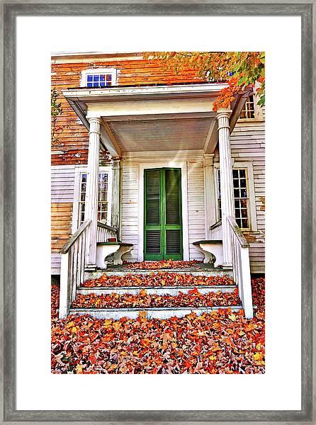 Green Autumn Door Framed Print