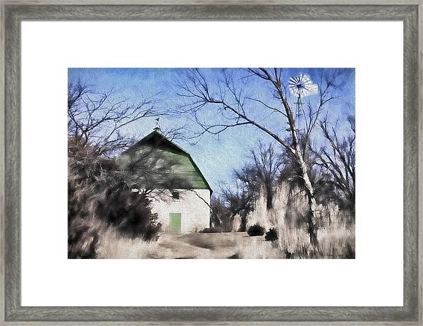 Green Barn Framed Print