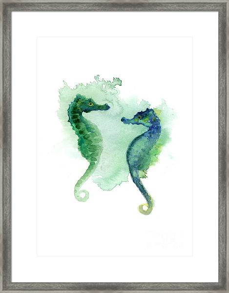 Green Blue Seahorses Watercolor Art Print Framed Print