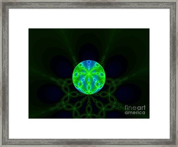 Green Blue World Fractal  Framed Print