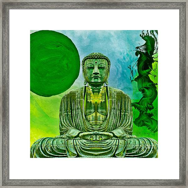 Green Buddha Framed Print