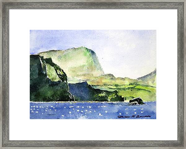 Green Cliffs And Sea Framed Print