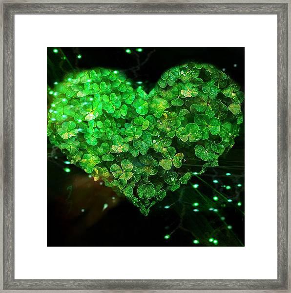 Green Clover Heart Framed Print