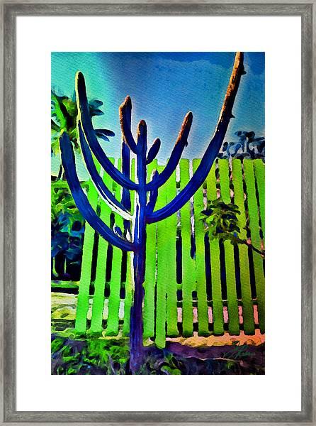 Green Fence Framed Print
