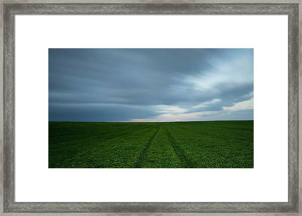 Green Field And Cloudy Sky Framed Print