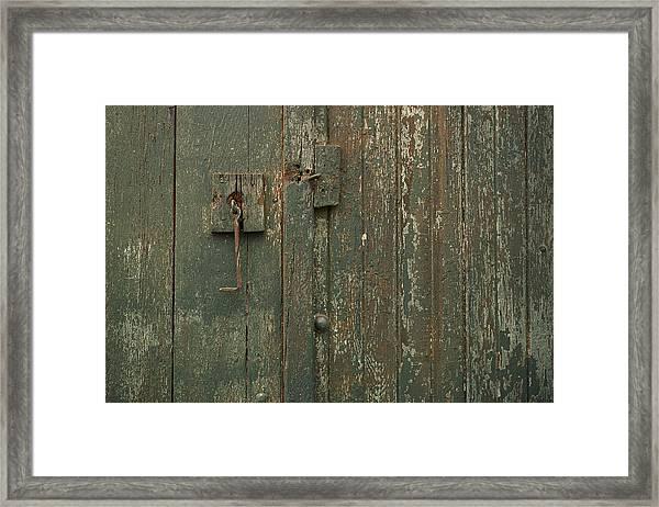 Green Garage Door Framed Print