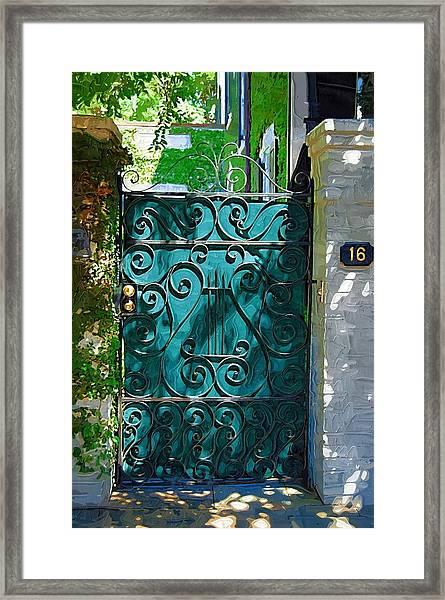 Green Gate Framed Print