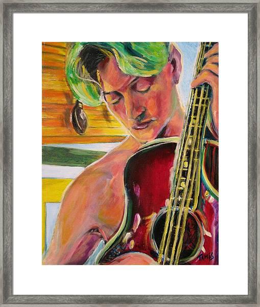 Green Hair Red Bass Framed Print