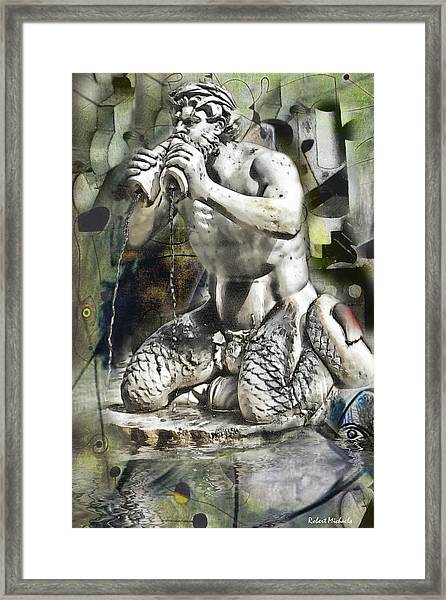 Green Navona Abstract Framed Print by Robert Michaels