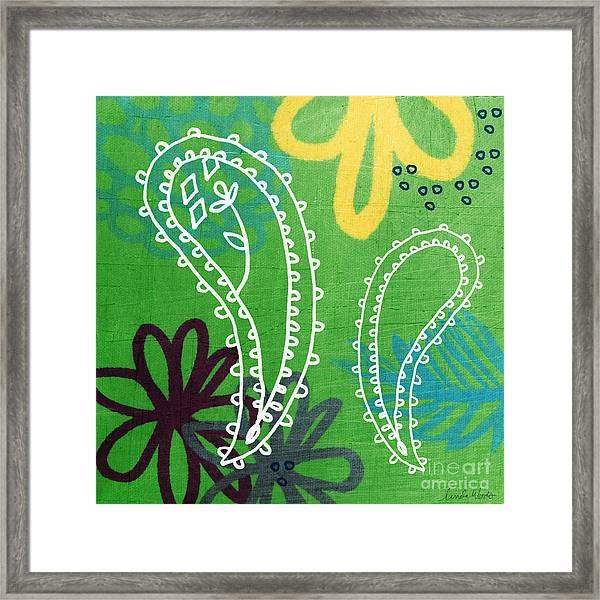 Green Paisley Garden Framed Print