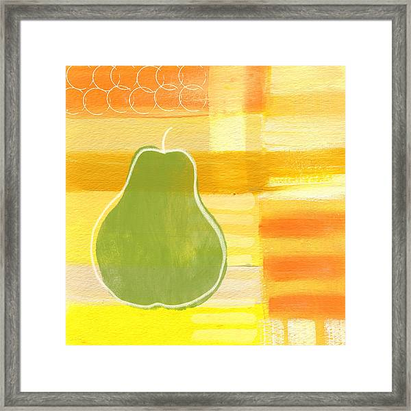 Green Pear- Art By Linda Woods Framed Print