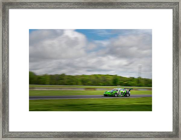 Green Porsche Racing At The Track Framed Print